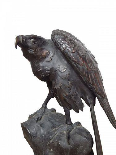 Vintage Japanese Okimono Flying Eagle on the Rock