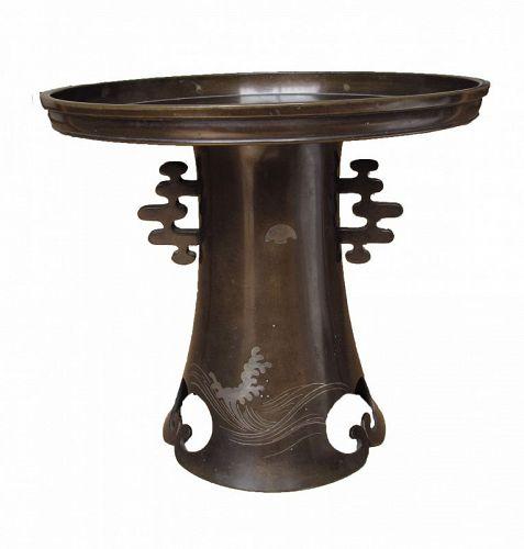 Vintage Japanese Bronze Flower Vase Usubata Waves Moon