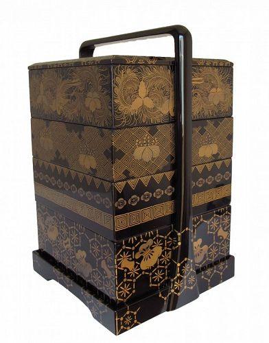 Vintage Japanese Lacquer Makie Urushi Jubako Stacking Box