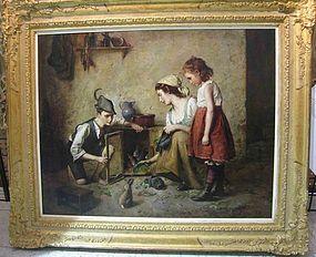 Mother & Children with Rabbits: Edmund Adler