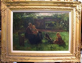 Mother, Children, Goat in Garden: Jacobus S.H. Kever