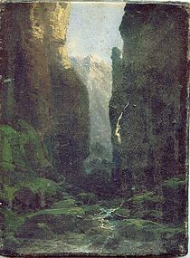 Mountain Gorge Waterfall: Hermann Herzog