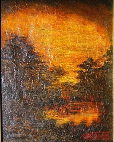 Indian Encampment in Sunset Landscape: Alfred Blakelock