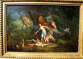 Venus & Adonis with Cherubs:Isaac Van Oosten Attr