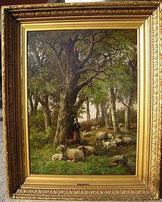 Shepherd & Sheep in Woods: Hendrik P Koekkoek