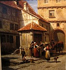 Italian Courtyard People, Animals: Jacques Carabain