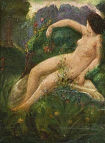 Nude on Rock in Landscape: Claude Buck