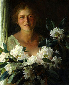 Woman with Rhododendrons: Charles Courtney Curran