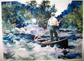 Running the Rapids in Canoe: Frank Benson