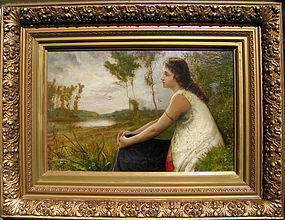 Victorian Lady in Lush Landscape, Robert P Staples