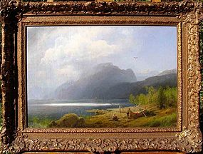 Mountain Lake: Boat and Figures: Hermann Herzog