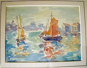 Sailboats in Harbor Southern France: Henri Cross