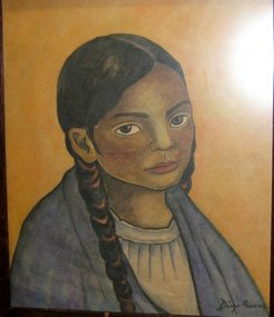 Mexican Girl in Braids: Diego Rivera