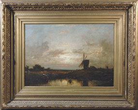 Barbizon Landscape with Figures: Jules Dupre
