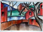 Red Houses on the River: Oscar Bluemner