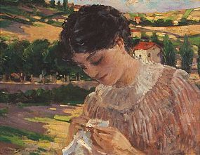 Impressionist Lady in Landscape: James Carroll Beckwith