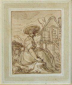 Peasant Girl Outside Cottage: Abraham Bloemaert