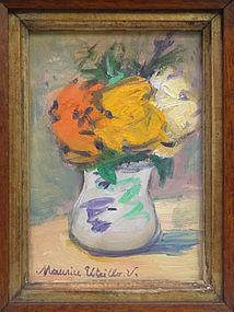 Petit Vase Blanc de Fleurs: Maurice Utrillo