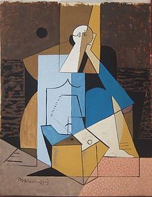 Cubiste Figure: Louis Marcoussis, Painting on paper, Early 20th C