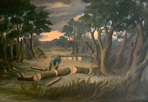 Emmanuel Gondouin, Woodcutters in French Forest at Sunset, Signed