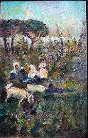Impressionist Landscape with Children by Fausto Zonaro
