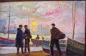 Impressionist Scene with Boats by Laveau