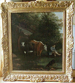 17thC. Pastoral:Cows,Boy,Dog by Siberechts