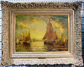 Ships In Gloucester Harbor By George McCord
