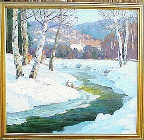 Stream in Winter by Walter Koeniger