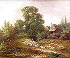 """19th C """"Driving The Herd"""" by Joseph Thors"""