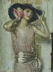 Portrait of Lady with Hat by Louis Mark