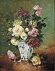 Floral Still Life in Vase by Eugene Henri Cauchois