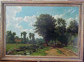Farm Landscape with Peasants & Animals: Hendrick Savry