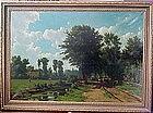 Farm Landscape with Peasants & Animals: Hendrick Savry
