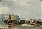 Unloading a Ship on the Beach: Louis Isabey