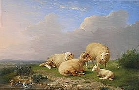Sheep at Rest beside Pond: Franz Van Severdonck