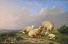 Sheep at Rest beside Pond: Franz Van Severdonck