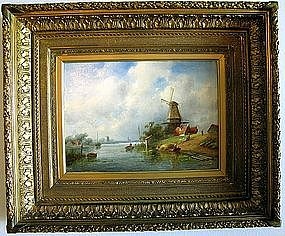 Dutch Windmill on River: Charles Henri Leickert