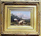 Sheep & Goat in Landscape: Eugene Maes