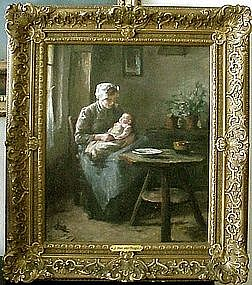 Woman & Baby in Kitchen: Lammert Louis Van der Tonge