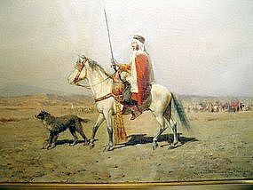 Arab Horsemen and Dog: Alfred Wordsworth Thompson