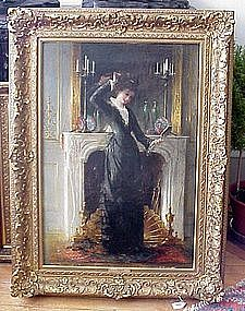 Lady in Front of Fireplace: Hendicus-Jacobus Burgers