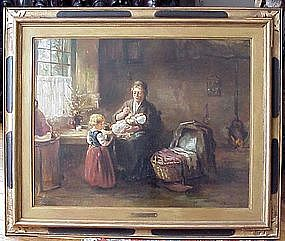 Mother & Children in Kitchen: Bernard De Hoog