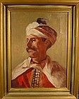 Orientalist Portrait of Man with Turban: European