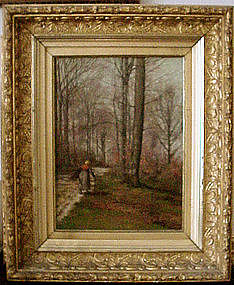Woman on Path in Woods: William Baptiste Baird