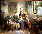 Mother & Children in Kitchen: Cornelius Bouter