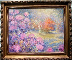 Impressionist Lady in Garden: Joseph Pauwels