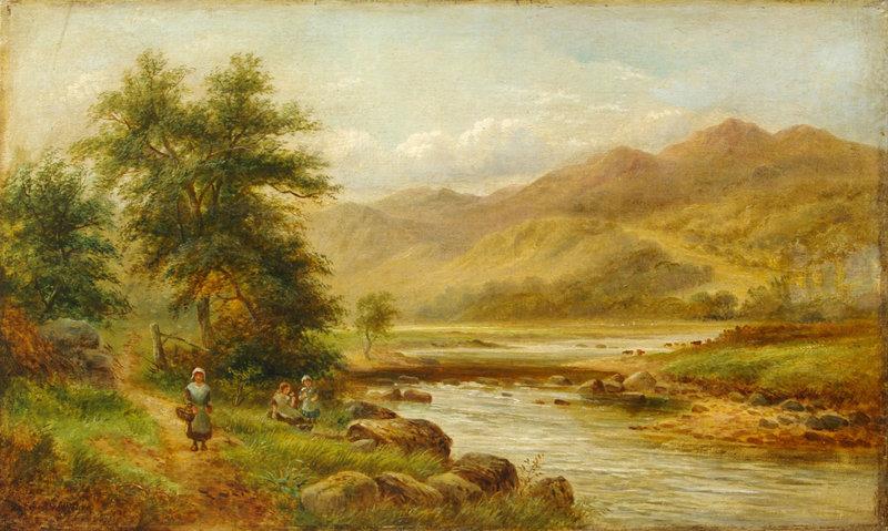 Children Walking near River: Ernest Walbourn