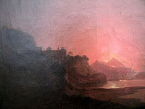 Mount Vesuvius Erupting at Night: Hubert Robert (Attrb)