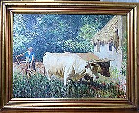 Impressionist Peasants with Oxen: Frank Godwin